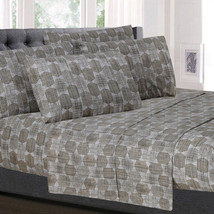 Monaco Taupe Geometric Pattern 6-Piece 1500 Thread Count Sheet Set - $22.99+
