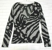 Ann Taylor Small Black Gray Animal Print Fine Wool Long Sleeve Cardigan Sweater - $18.56