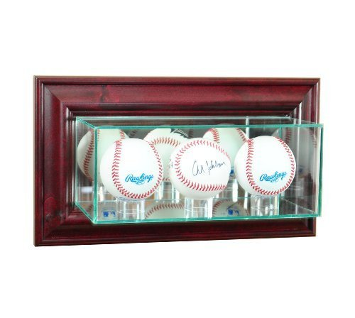 Perfect Cases MLB Wall Mounted Triple Baseball Glass Display Case, Cherry