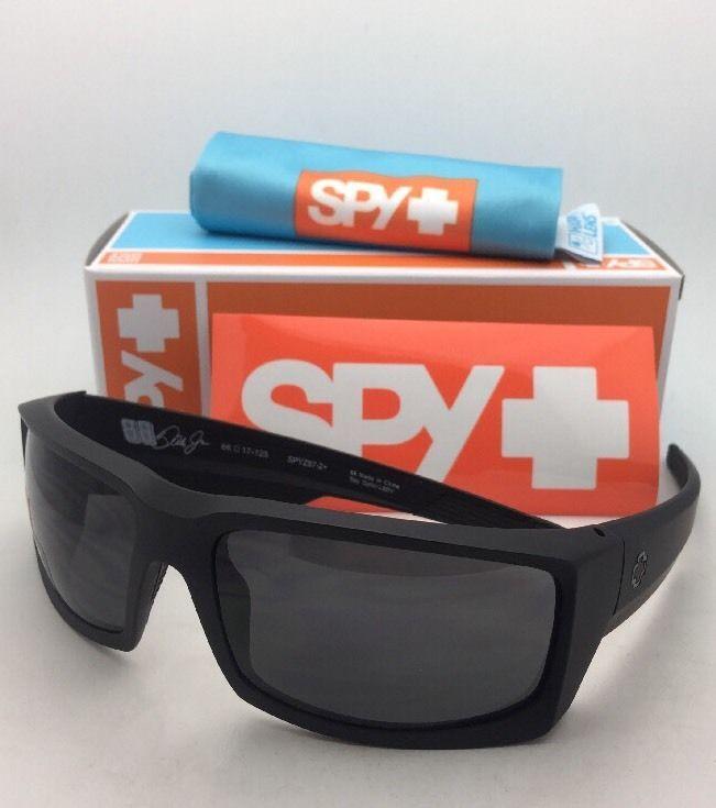 New SPY OPTIC Sunglasses GENERAL Soft Matte Black Frames with Grey-Green Lenses