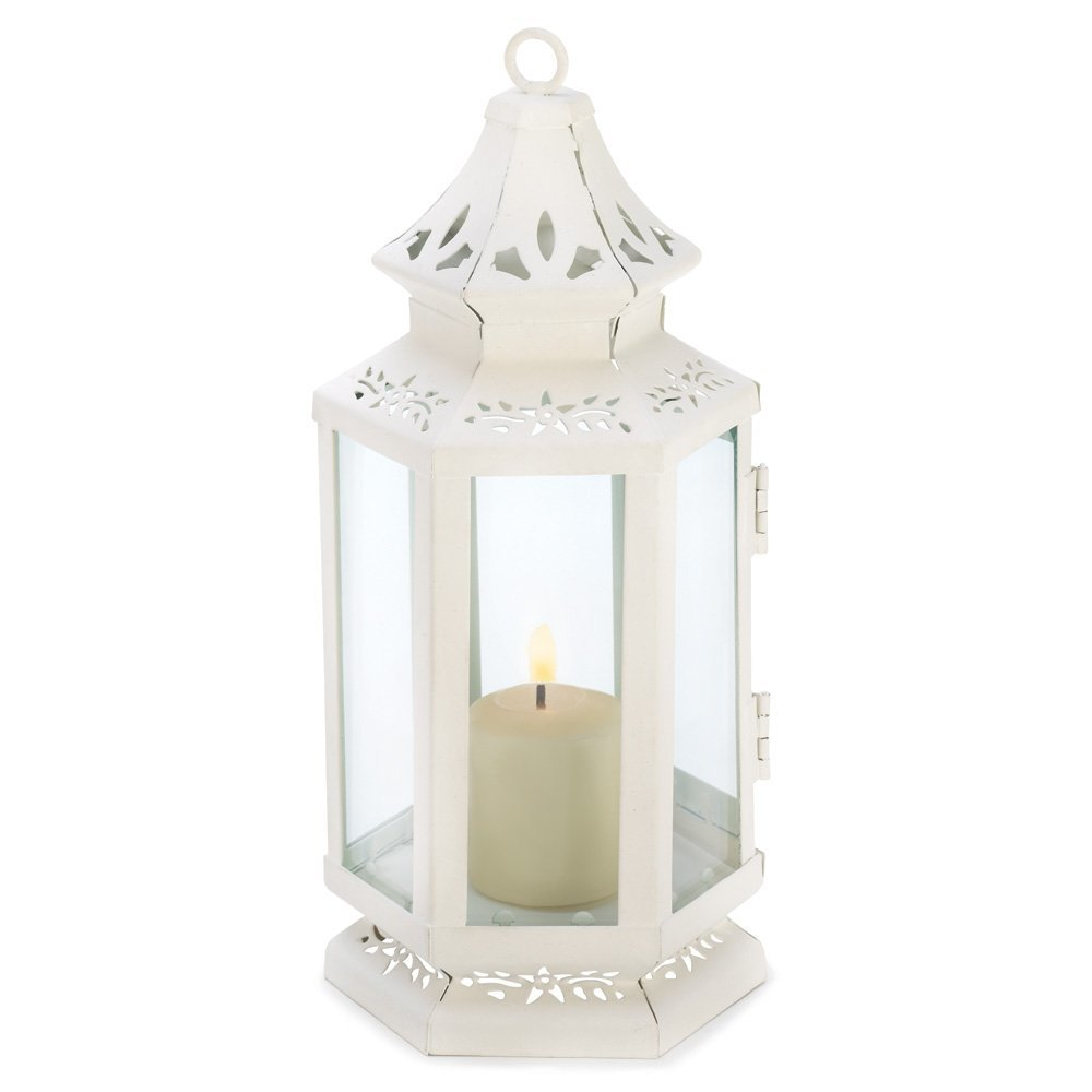 White Lantern Candle Holder, Antique Rustic Victorian Candle Lantern Holder image 3
