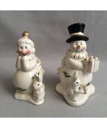 Holly Holiday Salt & Pepper Shakers Christmas Snowman & Woman Rabbits Go... - $15.00