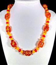 "17 1/2"" Yellow opal, genuine amber, & artglass necklace - $75.00"