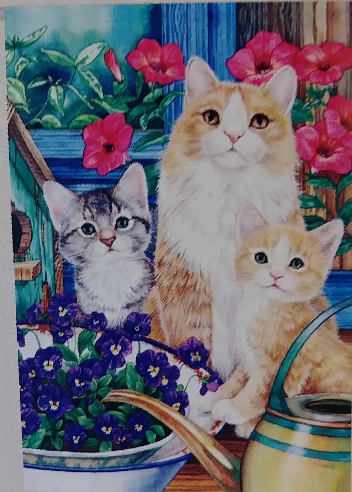 "Kitten Mischief Banner 29""x 43"" Evergreen NEW Springtime Floral House Flag"