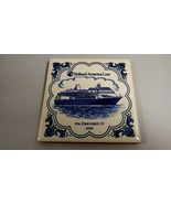 "Holland America Line Blue Delft Tile Coaster 3 7/8"" ms Rotterdam III 2000 - $20.79"