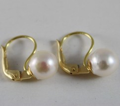 SOLID 18K YELLOW GOLD LEVERBACK EARRINGS WITH AKOYA PEARLS 8 MM, MADE IN ITALY image 2