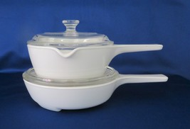 Corning All White, Menuette Browner MW-83 & P-89 Sauce Pan P-89 with Lids - $20.00
