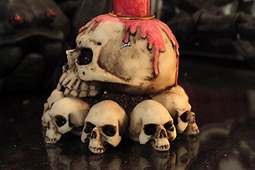 3.75 Inch Multiple Skulls Hand Painted Resin Candle Holder Beige