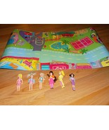 2003 Mattel Polly Pocket Magnet Play Mat Map with 6 Mini Dolls & Clothes... - $35.00