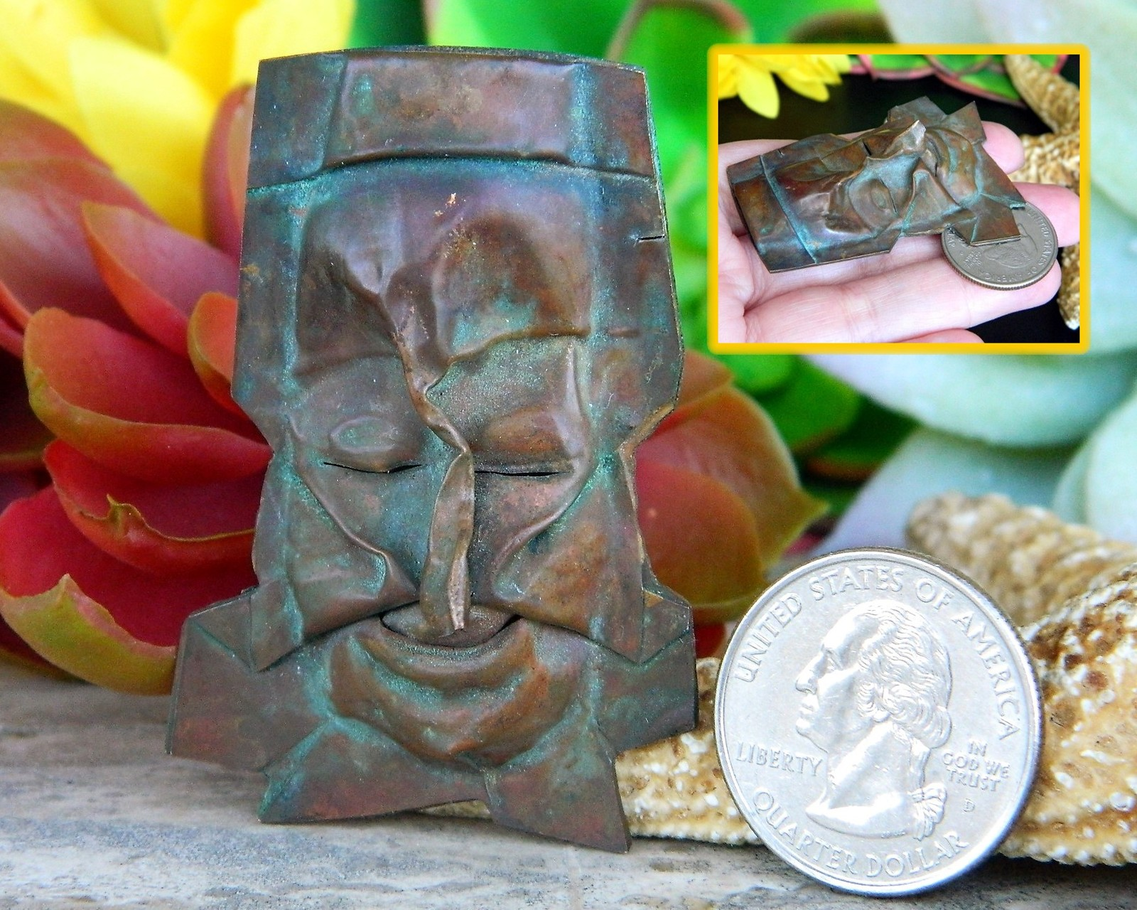 Vintage Face Brooch Pin Copper Metal Artisan Handcrafted Figural OOAK