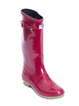 Women Rubber Rain Boots - Red Green Stripe  - $30.00