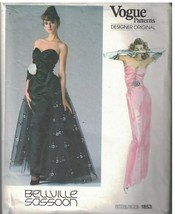 1853 Vogue Costura Patrón Misses Vestido con Forro Noche Largo Bellville... - $17.80