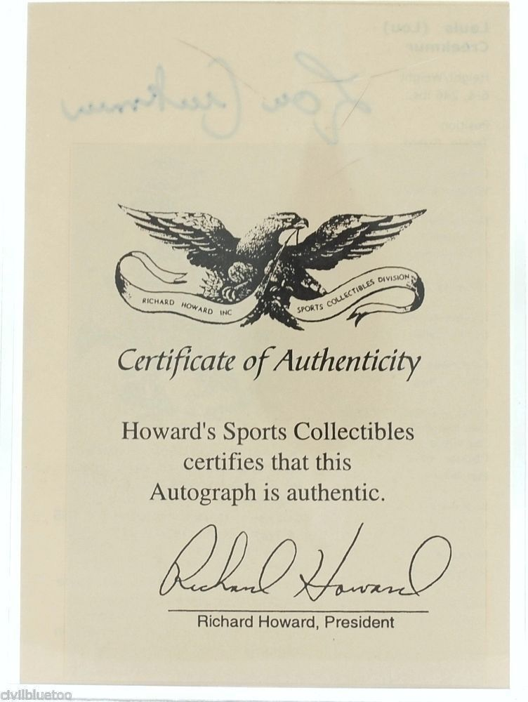 Lou Creekmur Hall of Fame Induction Signature Card Detroit Lions 1996 COA