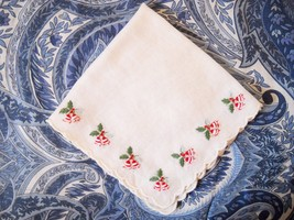 VINTAGE SOFT WHITE COTTON EMBROIDERED BELL/HOLLY HANDKERCHIEF W/SCALLOPE... - $5.00