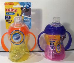 Lot of 2, Nuby Grip N Sip Super Spout Sippy Cup with Handles, 4m+, 8 oz - $13.98