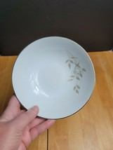 Mikasa Swan Lake Fruit Bowl White Rosebud Brown Leaves #5717 - $3.95