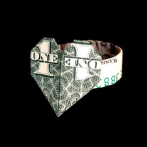 Origami RING with HEART 3D Art Valentine Day Gift Money Handmade out of ... - $9.99