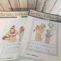 Daisy Kingdom Bucilla 63279 & 63283 Stamped Cross Stitch Sampler Momma Bear - $20.00