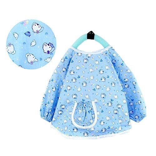 Blue Dog Cotton Waterproof Sleeved Bib Baby Feeding Bibs Art Smock, 2 PCS
