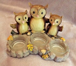 2012 Yankee Candle TRIPLE OWL Tealight CANDLE HOLDER Fall LEAVES & ACORN... - $19.75