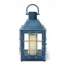 Distressed Blue Metal Lighthouse Lantern - $38.43