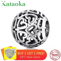 Round shape Openwork Hearts Charm Beads Fit Authentic Pandora Bracelet S... - $17.59