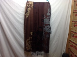Long Frilly Multicolored Scarf Shawl w Floral Design image 2