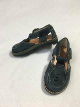 Lands End Toddler 5 Navy Blue Leather Buckle Shoes Sandals Vintage Look - $12.99