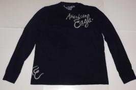 American Eagle Outfitters Blue Long Sleeve Henley Shirt Size Medium - $160,45 MXN
