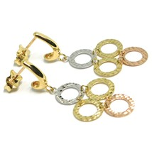 DROP EARRINGS YELLOW GOLD, ROSE AND WHITE 750 18K, CIRCLES WORKED, ARTICULATED image 1
