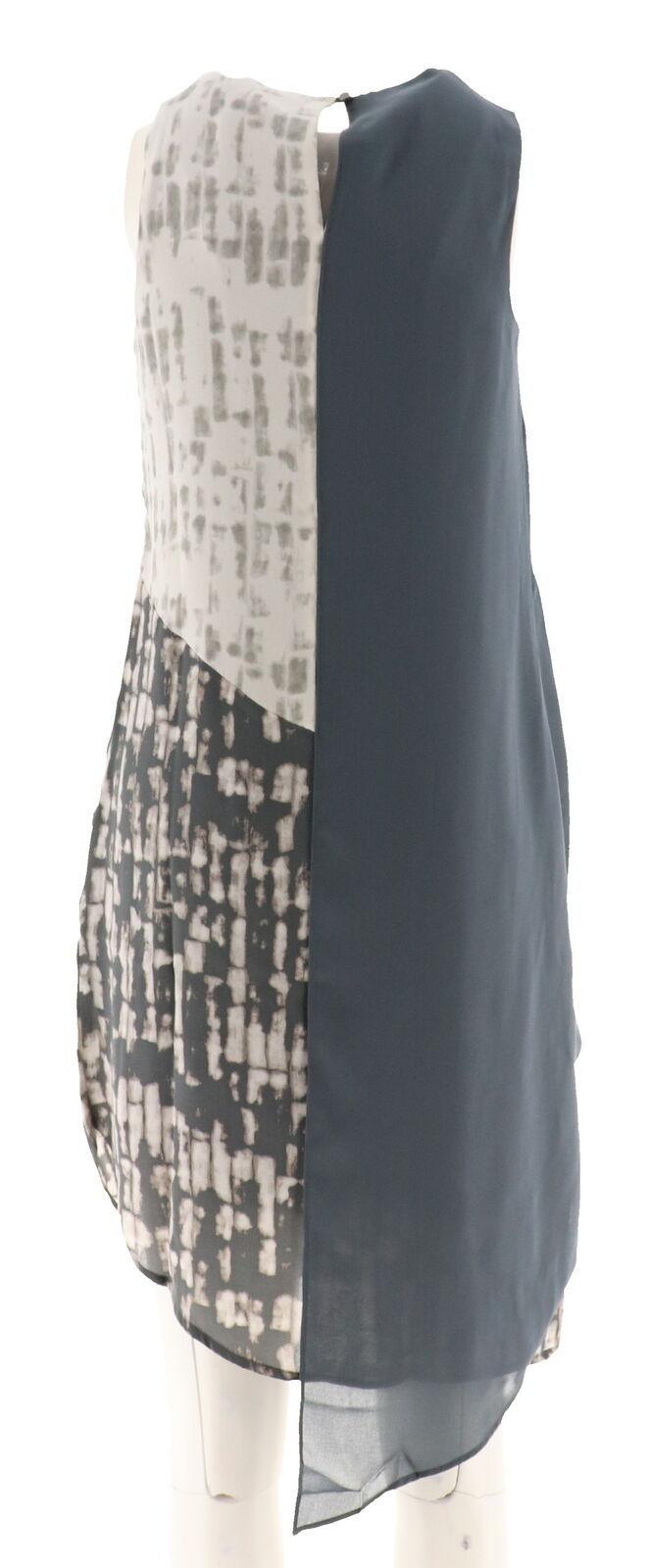 Halston Appeal Panel Slvless Color-Block Asymmetric Dress Granite 6 NEW A274552
