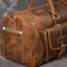 On Sale, Handmade Leather Luggage Bag, Vintage Weekend Bag, Travel Bag image 4