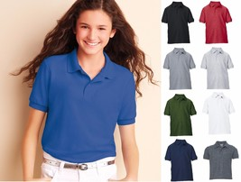 GILDAN Youth DryBlend Double Pique Jersey Sport Shirt Polo 72800 G72800B-XS-XL - $6.94+