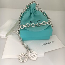 Please Return to Tiffany & Co Silver Toggle Heart Tag Necklace w/ Box an... - $425.00