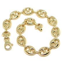 18K YELLOW GOLD MARINER BRACELET BIG 10 MM, 8.3 INCHES, ANCHOR ROUNDED OVAL LINK image 5