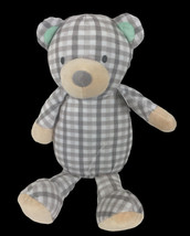 """Manhatten Toy 13"""" Grey Plaid Plush Stuart BearTeal Ears Embroidered Fac... - $24.74"""