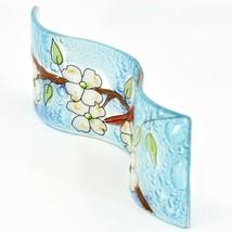 Fused Art Glass Cardinal Flower Dogwood Wavy Decor Sun Catcher Handmade Ecuador image 2