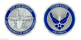 "AIR FORCE F-15 EAGLE GAIN AND MAINTAIN AIR SUPERIORITY 1.75"" CHALLENGE COIN - $17.09"