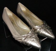 Jessica Simpon gold metallic pointed toe studded strappy ballet flats 6B 6262 - $33.34