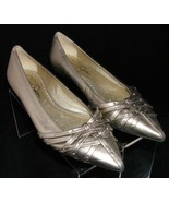 Jessica Simpon gold metallic pointed toe studded strappy ballet flats 6B... - $33.34