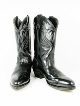 Laredo Fox  Lea Vamp Men's Western Cowboy Boots Black Leather Front Shaf... - $59.39