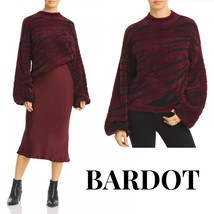 BARDOT Burgundy Zebra Stripe Balloon Sleeve Sweater Bloomingdale's Exclu... - $95.00