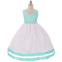 Aqua Lace Bodice Double Layers Tulle with Lace Bottom Hem Flower Girl Dress - $69.99