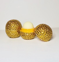 gold eos lip balm. Tropical Mango Flavour. Crystallised Bling rhinestone... - $16.42