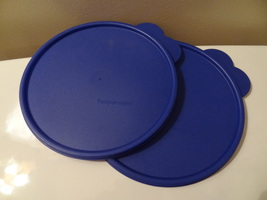 Lot Of 2 Tupperware Lids Double Tab Blue 2517 Brand New Great Shape Bowls - $23.99