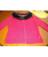 Bentley Arbuckle Red Sweater With Faux Fur Removable Black Collar (M) Dr... - $25.50