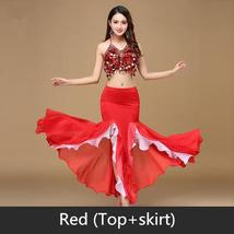 9 Colors Professional Belly Dancer Sequin Beaded Outfits Bra Belt Skirt image 9