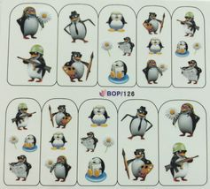 BANG STORE Nail Art Water Decals Cute Funny Penguins Painting Military Reading  - $2.11