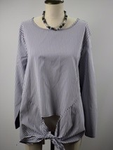 LANE BRYANT Stretch Scoop Neck Long Sleeve Stripe Top Blouse Plus Size 1... - $21.34