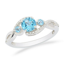 Shine Jewel 925 Sterling Silver Blue Topaz Gemstone Engagement Women Ring - $26.90